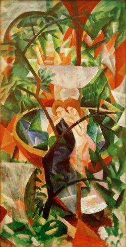 """August Macke """"Mädchen vor dem Springbrunnen"""" 74 x 142 cm"""
