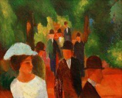 """August Macke """"Promenade (mit weißem Mädchen in Halbfigur)"""" 60 x 48 cm"""