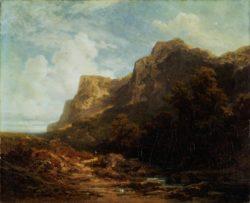 """Carl Spitzweg """"Bayerische Gebirgslandschaft"""" 64 x 78 cm"""