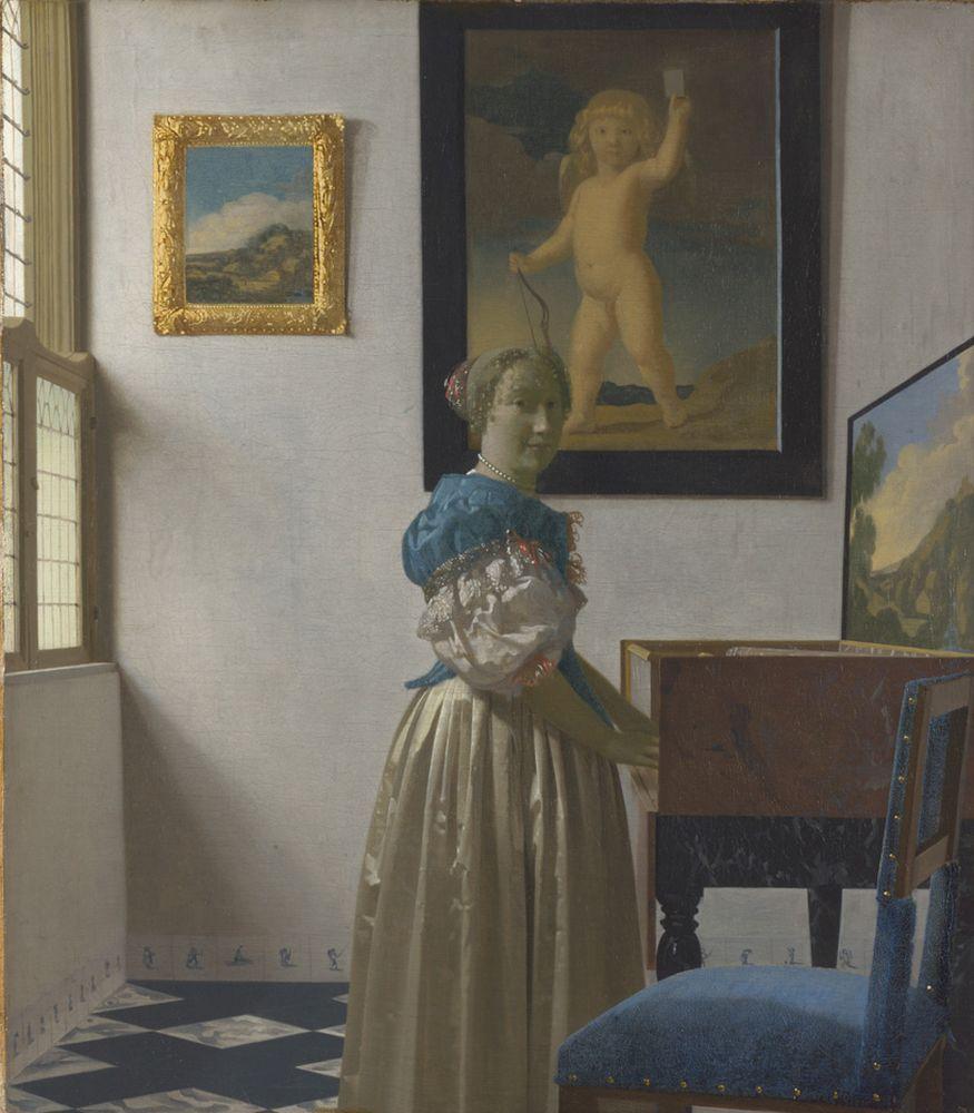 """Jan Vermeer """"Stehende Virginalspielerin"""" 45 x 52 cm"""