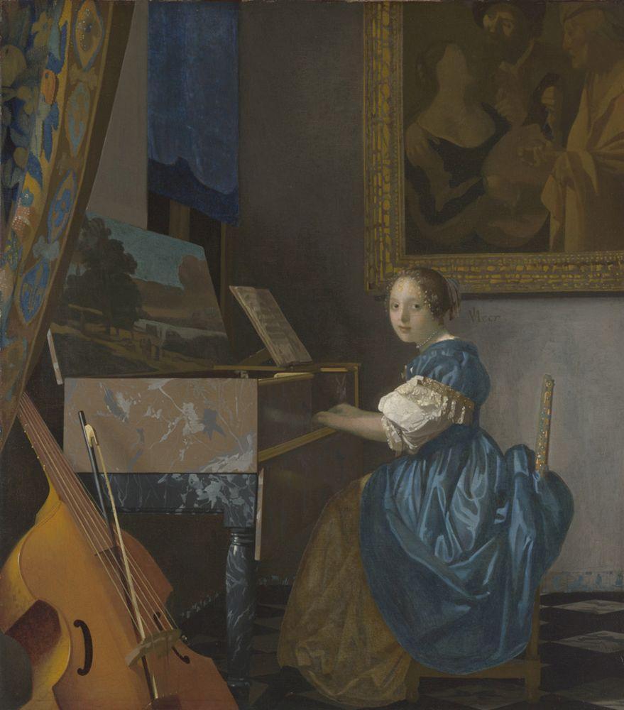 """Jan Vermeer """"Sitzende Virginalspielerin"""" 46 x 52 cm"""