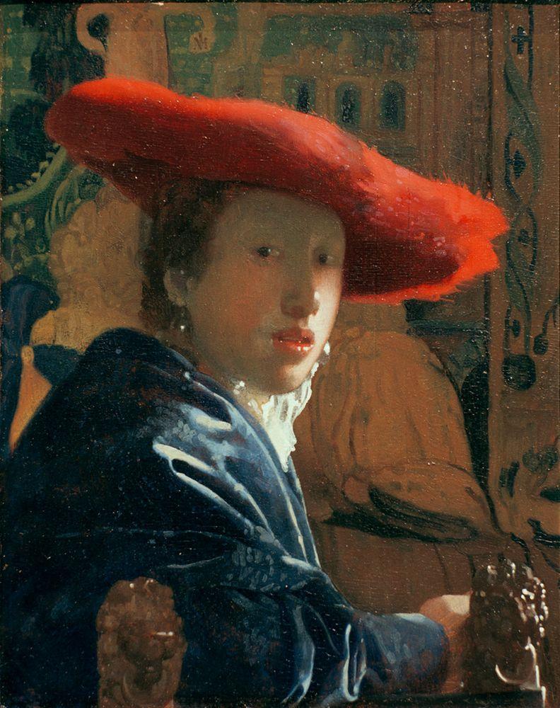 """Jan Vermeer """"Mädchen mit rotem Hut"""" 18 x 23 cm"""