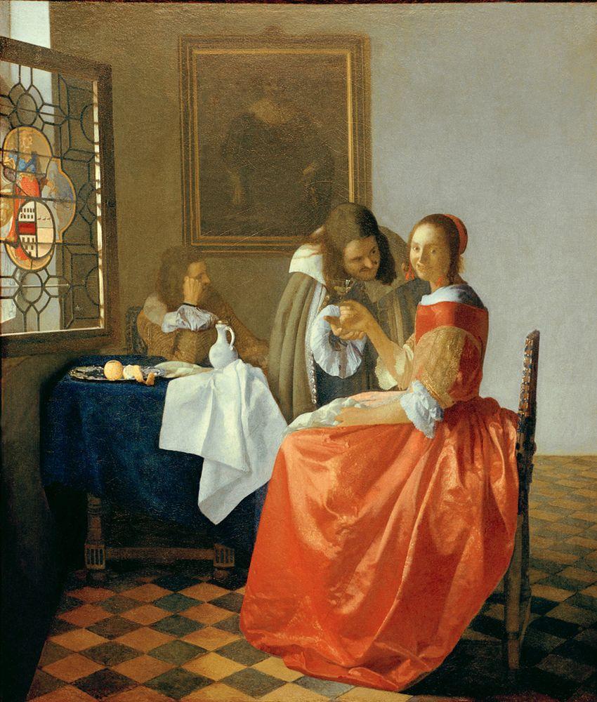 """Jan Vermeer """"Das Mädchen mit dem Weinglas"""" 67 x 78 cm"""
