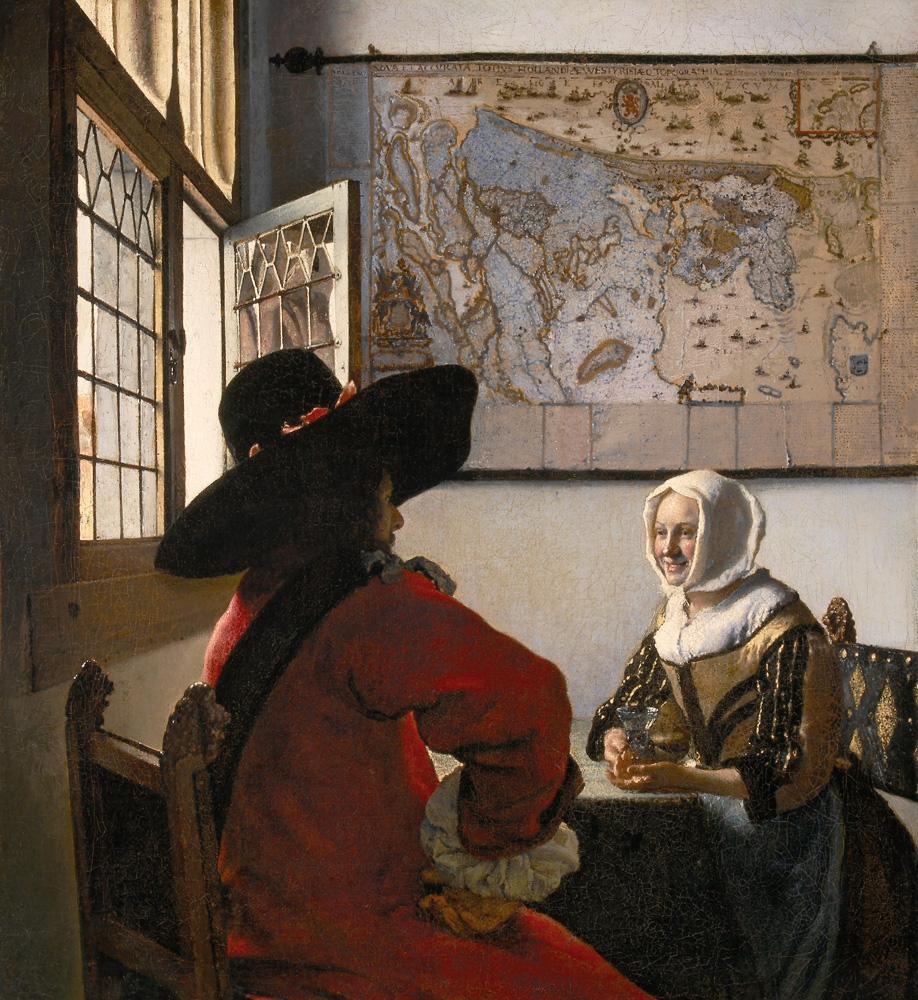 """Jan Vermeer """"Der Soldat und das lachende Mädchen"""" 46 x 51 cm"""