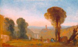"""William Turner """"Italienische Landschaft mit Brücke und Turm"""" 60 x 98 cm"""