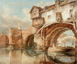 "William Turner ""Die Old Welsh Bridge in Shrewsbury"" 22 x 27 cm"