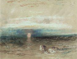 """William Turner """"Sonnenuntergang über dem Meer mit Knurrhähnen"""" 22 x 28 cm"""