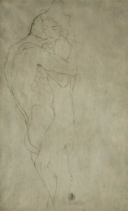 """Gustav Klimt """"Liebespaar nach rechts liegend"""" 55 x 35 cm"""