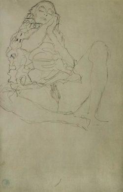 """Gustav Klimt """"Sitzender Halbakt mit geschlossenen Augen"""" 37 x 57 cm"""