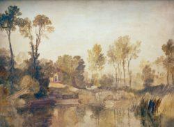 """William Turner """"Haus am Fluß mit Bäumen und Schafen"""" 91 x 117 cm"""