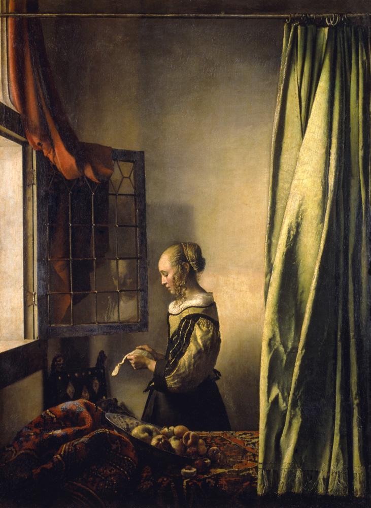 """Jan Vermeer """"Brieflesendes Mädchen am offenen Fenster"""" 65 x 83 cm"""