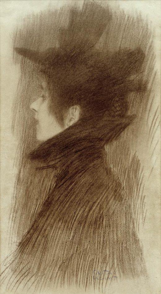 """Gustav Klimt """"Mädchen mit Hut und Cape im Profil"""" 22 x 42 cm 1"""
