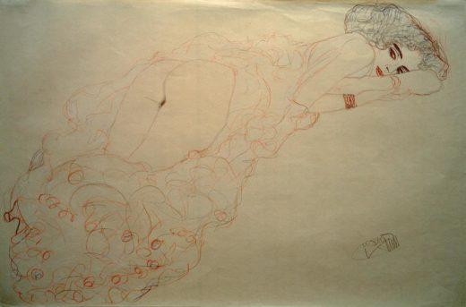 """Gustav Klimt """"Auf dem Bauch liegender Akt nach rechts"""" 56 x 37 cm 1"""