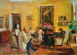 """Max Liebermann """"Der Künstler und seine Familie in seinem Haus am Wannsee"""" 75 x 54 cm"""