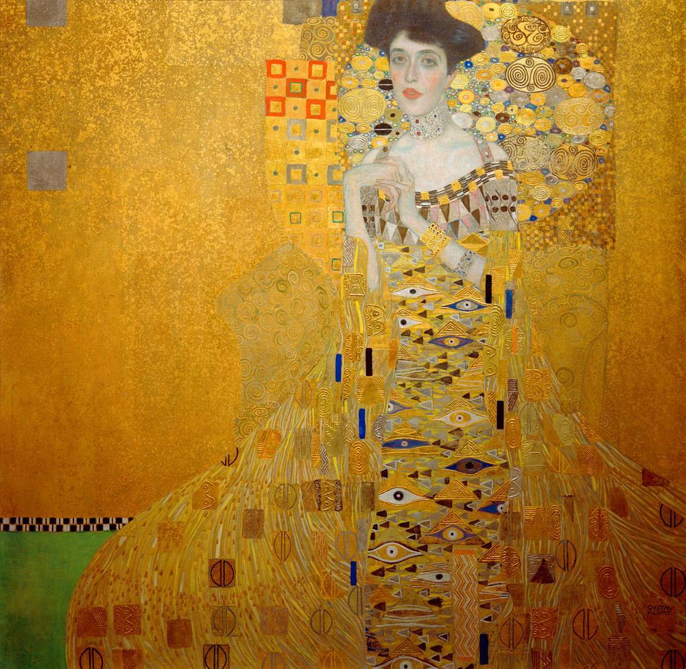 KLIMT Miniaturbild komplett mit Aufhänger Adele Bloch Bauer 16x16cm