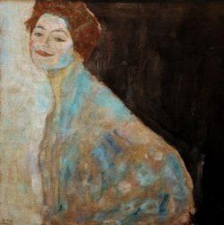 "Gustav Klimt ""Damenbildnis in Weiß"" 70 x 70 cm"