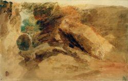 """William Turner """"Felsen unter Klippen, mit Bach, der sich in einen schmalen Kanal ergießt"""" 29 x 46 cm"""