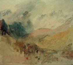 "William Turner ""Montblanc und Le Chétif über Pré-Saint-Didier im Aostatal blickend"" 26 x 28 cm"