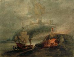 """William Turner """"Schloss Llanstephan bei Mondlicht mit einem Brennofen im Vordergrund"""" 21 x 28 cm"""
