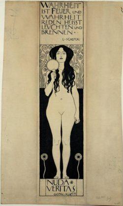 """Gustav Klimt """"Nuda Veritas (Zeichnung)"""" 10 x 41 cm"""