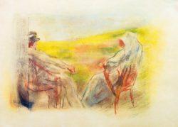 """Max Liebermann """"Dame und Herr vor einer Dünenlandschaft"""" 35 x 26 cm"""