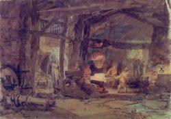 """William Turner """"Das Innere einer Eisengießerei"""" 25 x 35 cm"""