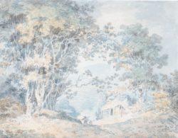 """William Turner """"Landschaft mit Bauern"""" 21 x 27 cm"""