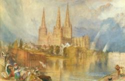 "William Turner ""Lichfield mit Kathedrale"" 29 x 44 cm"