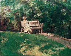 """Max Liebermann """"Die Gartenbank"""" 86 x 71 cm"""