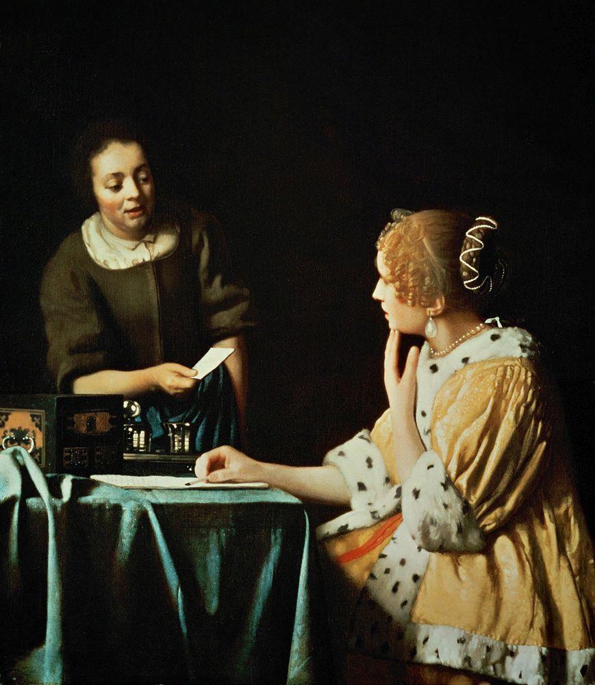 """Jan Vermeer """"Dame mit Dienstmagd und Brief"""" 78 x 90 cm"""