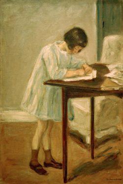 """Max Liebermann """"Die Enkelin beim Schreiben"""" 51 x 76 cm"""