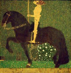 """Gustav Klimt """"Das Leben ein Kampf (Der goldene Ritter)"""" 100 x 100 cm"""