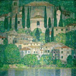 """Gustav Klimt """"Kirche in Cassone (Landschaft mit Zypressen)"""" 110 x 110 cm"""