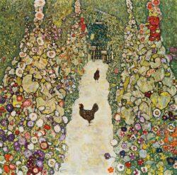 """Gustav Klimt """"Gartenweg mit Hühnern"""" 110 x 110 cm"""