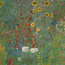 """Gustav Klimt """"Garten mit Sonnenblumen"""" 110 x 110 cm"""