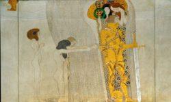 """Gustav Klimt """"Beethovenfries – Sehnsucht nach Glück (Ausschnitt)"""" 1378 x 216 cm"""