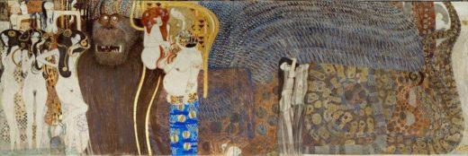 """Gustav Klimt """"Beethovenfries – Die feindlichen Gewalten (Ausschnitt)"""" 636 x 216 cm 1"""