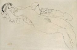 """Gustav Klimt """"Liegender Mädchenakt nach links"""" 57 x 37 cm"""