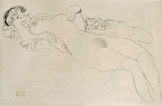 """Gustav Klimt """"Liegender Mädchenakt nach links"""" 57 x 37 cm 1"""
