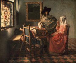 """Jan Vermeer """"Herr und Dame beim Wein"""" 77 x 66 cm"""