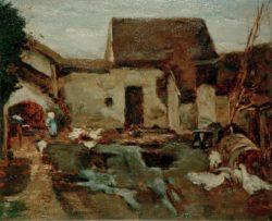 """Max Liebermann """"Bauernhof in Barbizon – Studie"""" 46 x 38 cm"""
