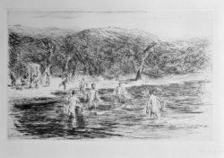 """Max Liebermann """"Badende Knaben"""" 28 x 18 cm"""