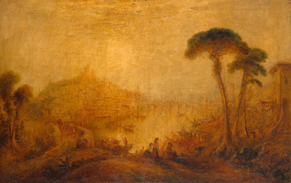 """William Turner """"Altertümliche Landschaft mit Gestalten"""" 88 x 138 cm"""