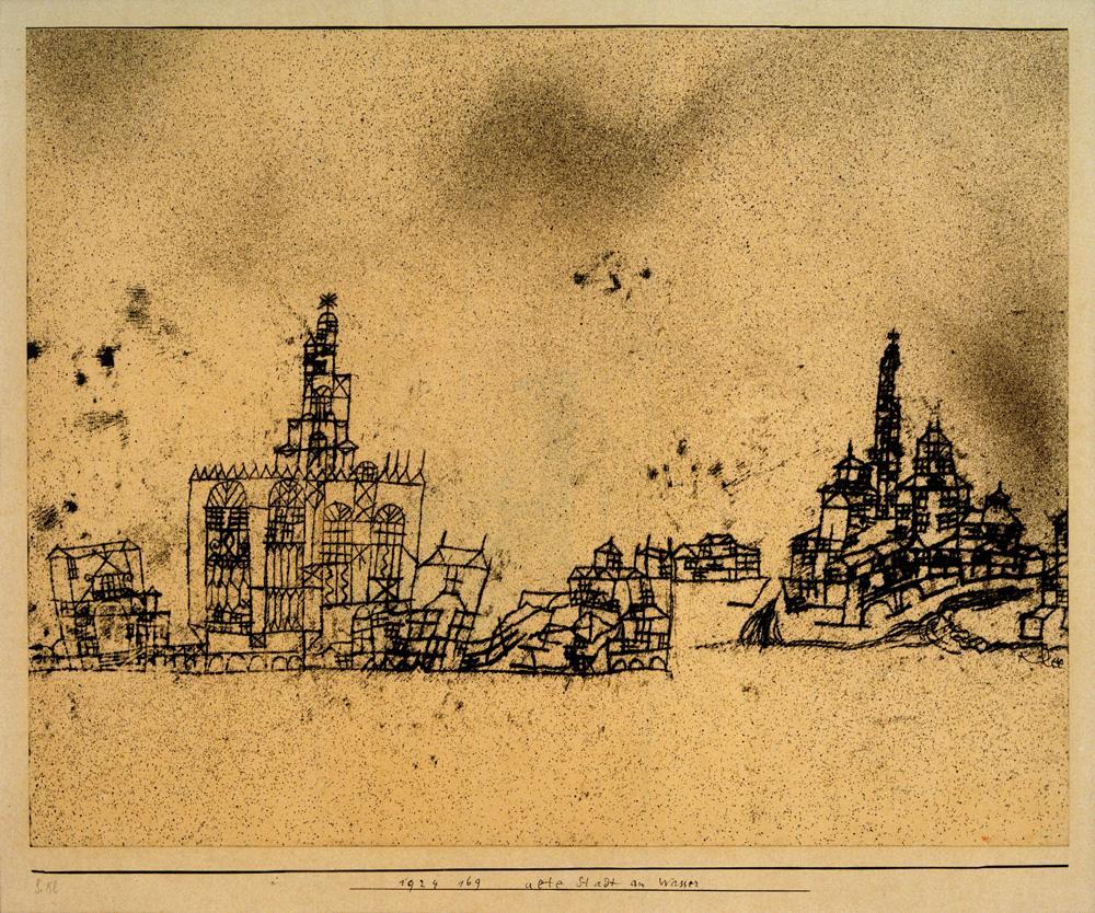 """Paul Klee """"Alte Stadt am Wasser"""" 35 x 28 cm"""
